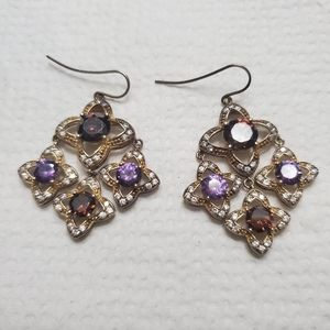 Gold and color stone chandelier earrings